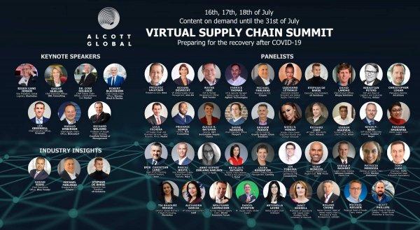 Virtualus aukščiausiojo lygio susitikimas, skirtas tiekimo grandinėms. 50 pranešėjų, 20 valandų pran