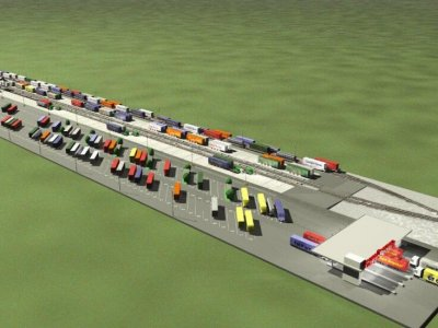 The German CargoBeamer company starts construction of a multimodal terminal in Calais