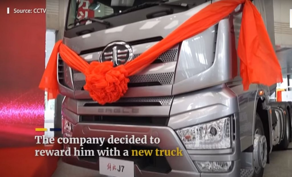 Driver risking his life to save community received brand new truck from the manufacturer