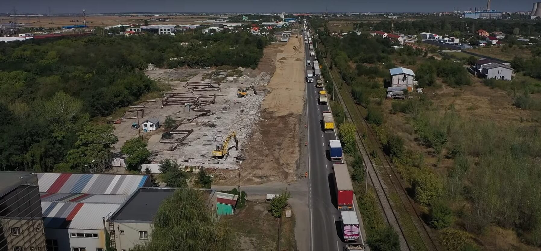 O nouă filmare aeriană de pe șantierul giratoriului suspendat de pe centura București