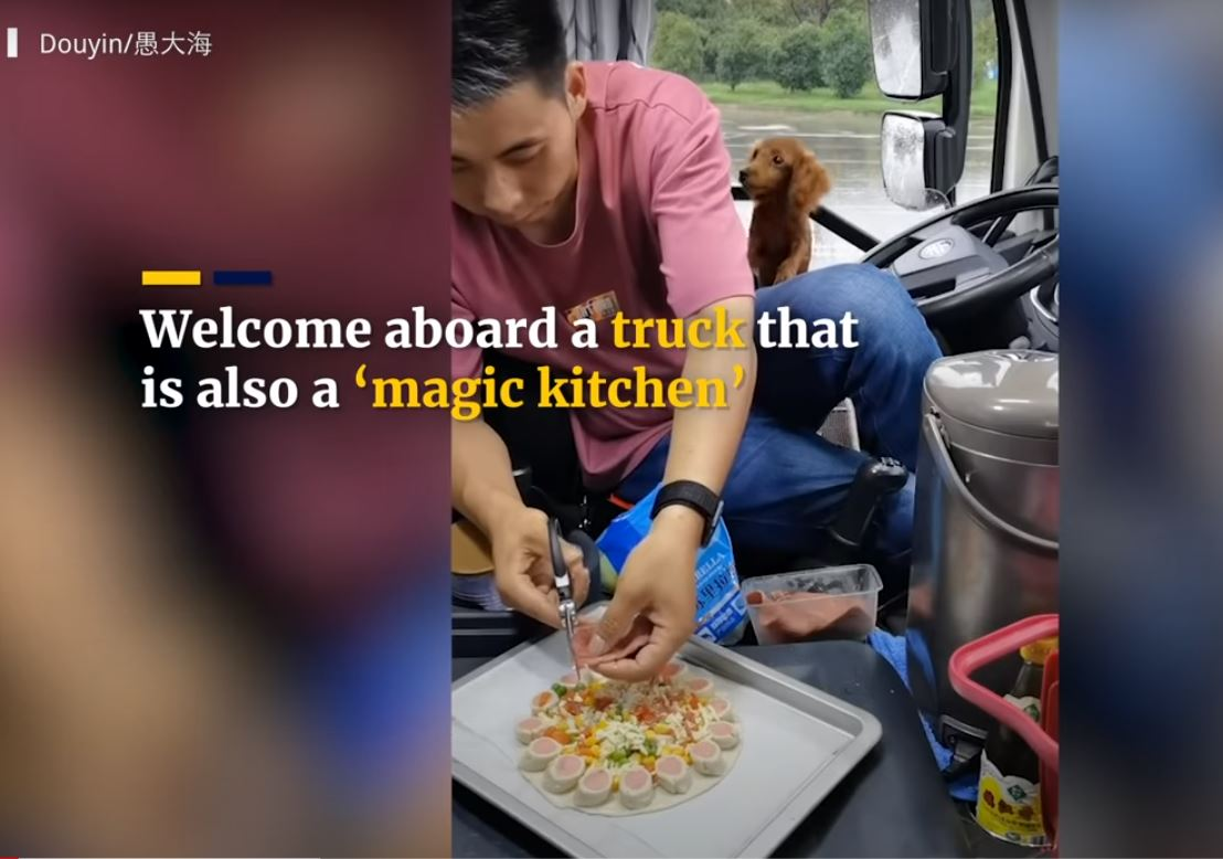 Does life on the road mean junk food? A Chinese gourmet driver shows how to prepare the best foods in the cabin