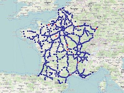 Naujas vairuotojams skirtų stovėjimo vietų ir restoranų Prancūzijoje žemėlapis