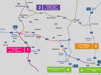 Vollsperrung der A46-Rheinbrücke Richtung Neuss und des nördlichen Berliner Rings. Weitgehende Verkehrsbehinderungen auch auf der niederländischen Autobahn