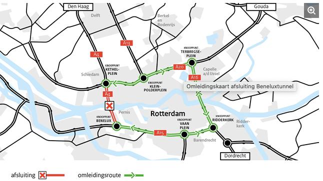 Rijkswaterstaat (Генеральный директорат общественных работ и управления водными ресурсами Нидерландов) планирует закрыть туннель под Новым Маасом на границе между Роттердамом и Схидамом. Beneluxtunnel будет непроходимым в обоих направлениях. Работы на A4 начнутся 13 и продлятся до 14 ноября (Источник: Rijkswaterstaat).