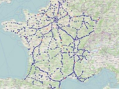 Neue Karte mit Raststätten und Restaurants in Frankreich, die für Lkw-Fahrer verfügbar sind