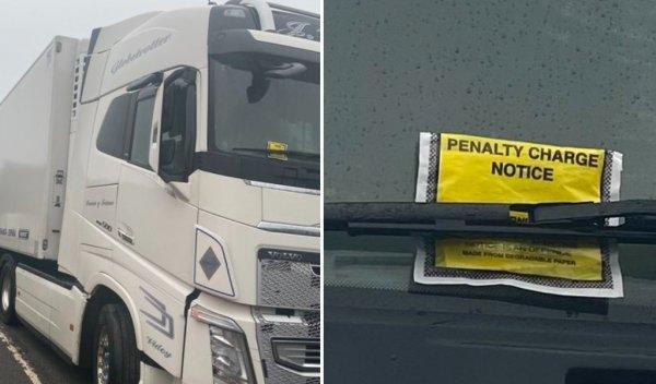 Bez litości dla kierowców ciężarówek w hrabstwie Kent. Mimo chaosu dostają mandaty za parkowanie prz