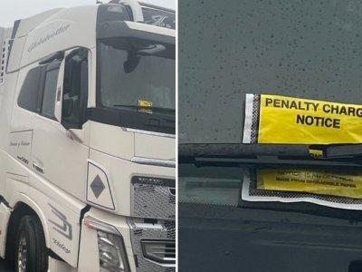 Jokio gailestingumo sunkvežimių vairuotojams Kento grafystėje. Nepaisant chaoso, jie baudžiami už stovėjimą prie kelių