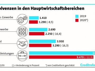 Insolvenzen in Deutschland, Jahr 2020