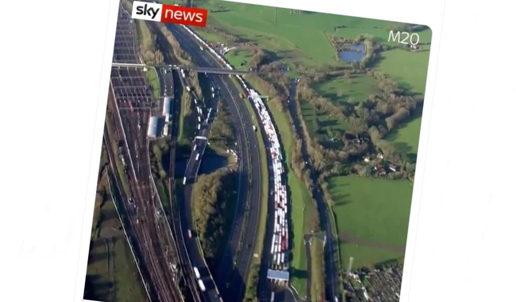 New aerial footage shows shocking length of lorry queues on the M20
