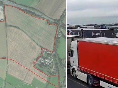 Localnicii din Kent protestează împotriva construirii unei parcări de camioane