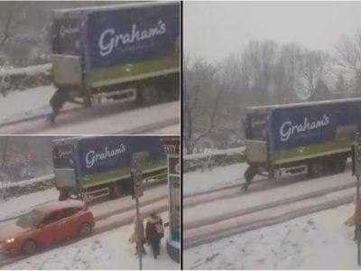 Femeia care a împins un camion cu produse lactate în plin visol a primit o recompensa pe măsură