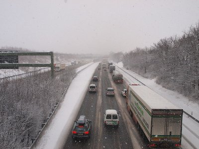 Heavy snow and ice in Germany grounds trucks and causes multiple motorway accidents