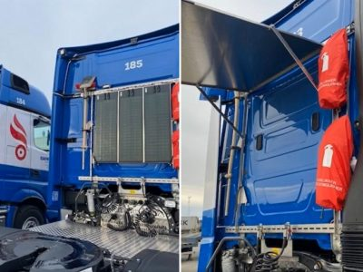 Haulier's solar panel-equipped trucks provide power to drivers on weekends