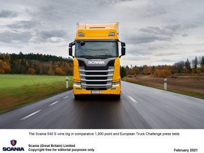 A Scania 540 S vontató nyerte a német kamion összehasonlító-tesztet