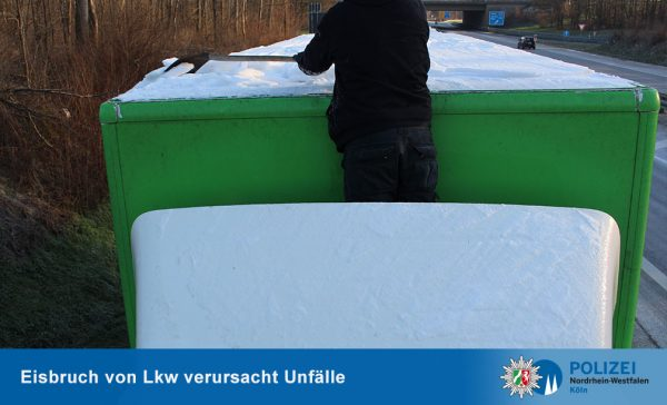 German police urge drivers to remove snow and ice from the top of their trailers