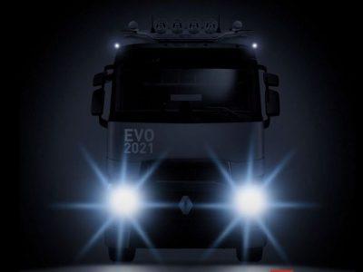 """Naujasis """"Renault"""" sunkvežimis. Nuotraukos pateko į internetą, o gamintojas skatina susidomėjimą paslaptingu pranešimu"""