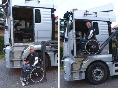 Trotz Behinderung geht sein Traum in Erfüllung. Dank entsprechender Lkw-Vorbereitung kann der Franzose als Trucker arbeiten