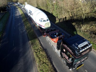 Boeing 727 fuselage successfully transported from Cotswold Airport to Bristol