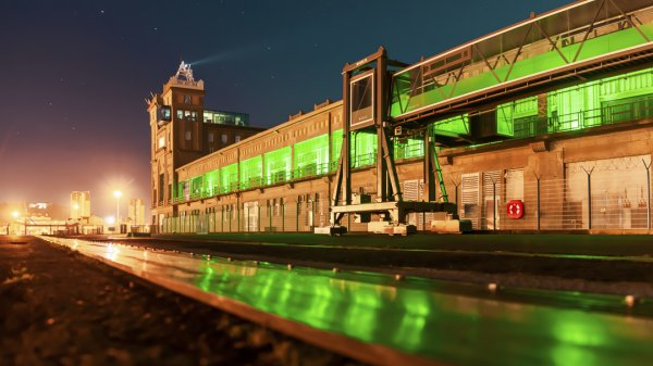 Cherbourg Port shines green to celebrate St Patrick's Day and recent traffic boom