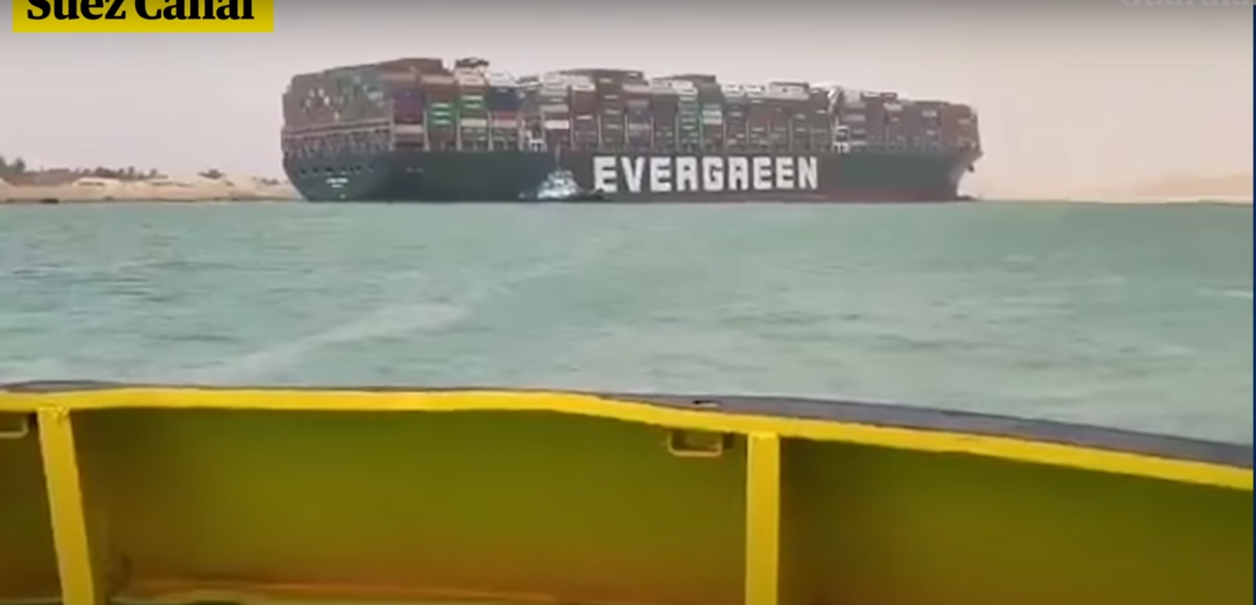 Sueco kanalas užblokuotas. Didžiulis konteinerių laivas užplaukė ant seklumos… beveik skersai