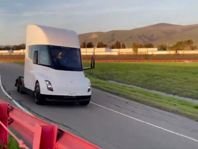 Tesla reveal footage of its new truck hitting California test track