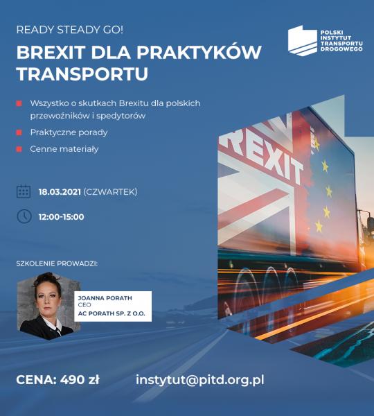 """""""Ready, steady, go, czyli Brexit dla praktyków transportu"""". Zapisz się na szkolenie online"""