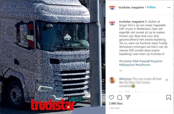 MAN's new truck model photographed in Eindhoven