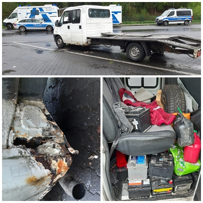"""Police stop battered van with trailer """"fixed"""" by a just few weldings"""