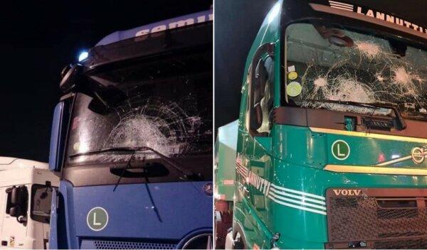 Šokiruojanti situacija Kalė: 100 imigrantų užpuolė sunkvežimius