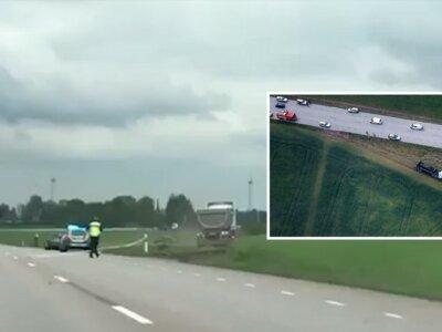 """Akcja jak z filmu """"Speed"""". Kierowca ciężarówki przekonywał, że nie może się zatrzymać, a zbliżał się do korka…"""