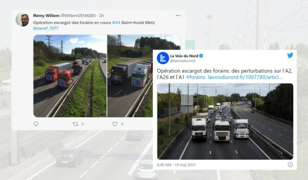 Chaos in France as amusement park HGVs block motorway traffic in protest over covid restrictions