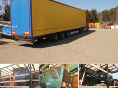 Poliția franceză a descoperit două tractoare furate, ascunse în remorca unui camion din România