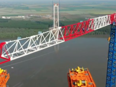 Infrastructură I Imagini spectaculoase de la lucrările la podul de la Brăila