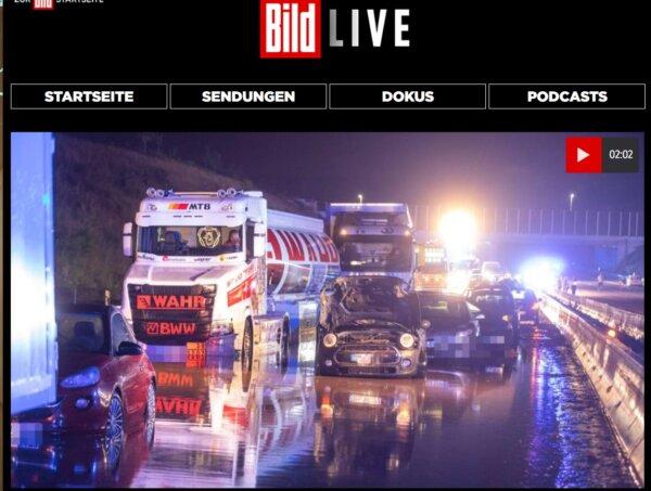 Un șofer de camion a salvat opt persoane în timpul unei inundații pe autostrada A8 în Germania