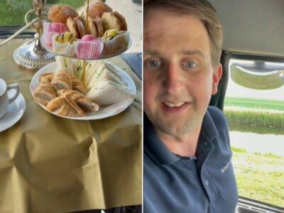 Imbryczek, pieczywo i świece – brytyjski kierowca pokazał, jak można ucztować w trakcie postoju