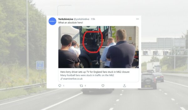 Lorry driver lets fans watch England-Germany game on his TV during motorway gridlock