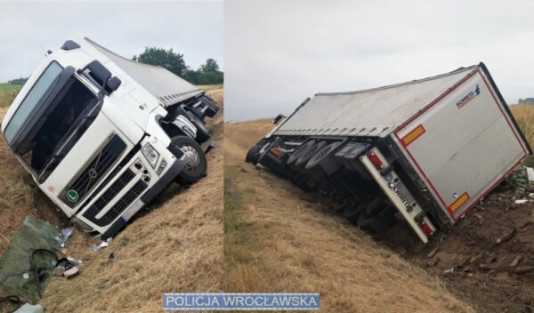 Lorry driver crashes into ditch after falling asleep at wheel