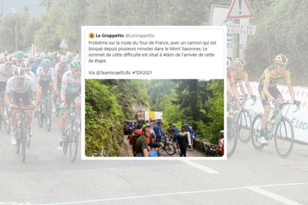 Beszorult kolbászos kamion okozott ijedelmet a Tour de France-on