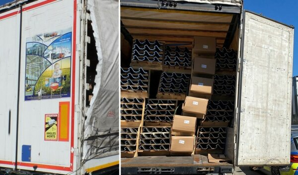 German police fine driver for insecure load and drivers' hours violations