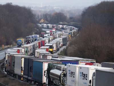 Огромная пробка на немецкой автомагистрали в сторону Польши