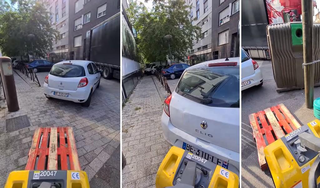 Kierowca ciężarówki znalazł prosty sposób, aby przestawić źle zaparkowane auto. To nagranie jest hitem internetu