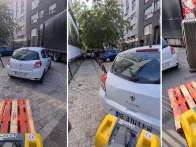 Un șofer de camion a găsit o soluție ingenioasă pentru a muta un autovehicul parcat incorect