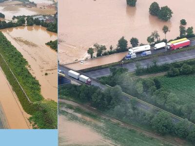 Potvynis Vokietijoje. Nepravažiuojami keliai, blokuojamos greitkelių atkarpos [LIVE]