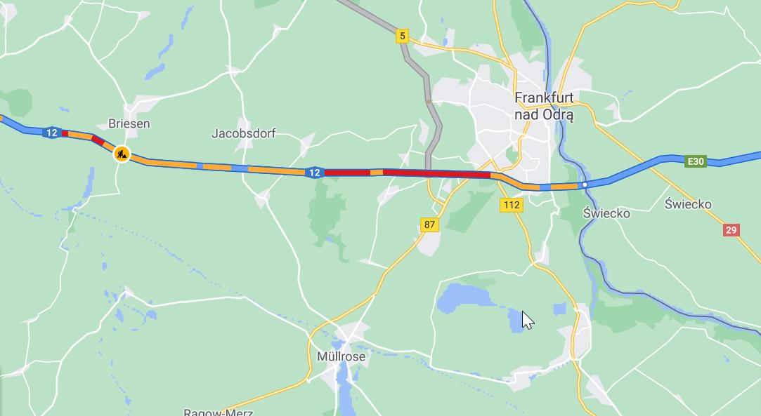 Potężny korek na niemieckiej autostradzie w kierunku Polski