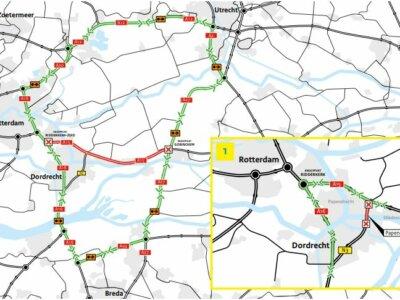 Fahrbahnerneuerung im Sommer in der Nähe von Rotterdam. Prüfen Sie, wo und wann es Verkehrsbehinderungen geben wird