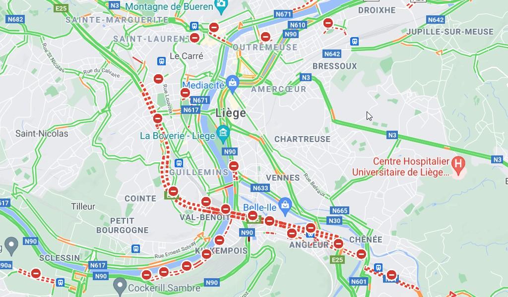 Belgijos valdžia įspėja: nevažiuokite į Lježą. Vairuotojams siūloma vengti miesto centro, A602 ir E25 kelių. Galima važiuoti E411 keliu.