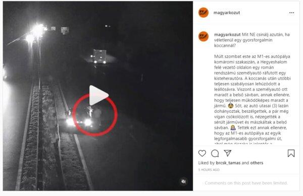 Az M1-es autópálya belső sávjában ácsorogtak, dohányoztak, csókolózgattak az éjszaka közepén (videó)