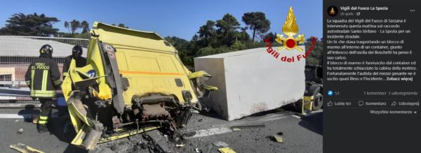 Eine schlecht gesicherte Ladung zerschmetterte das Fahrerhaus eines Lasters