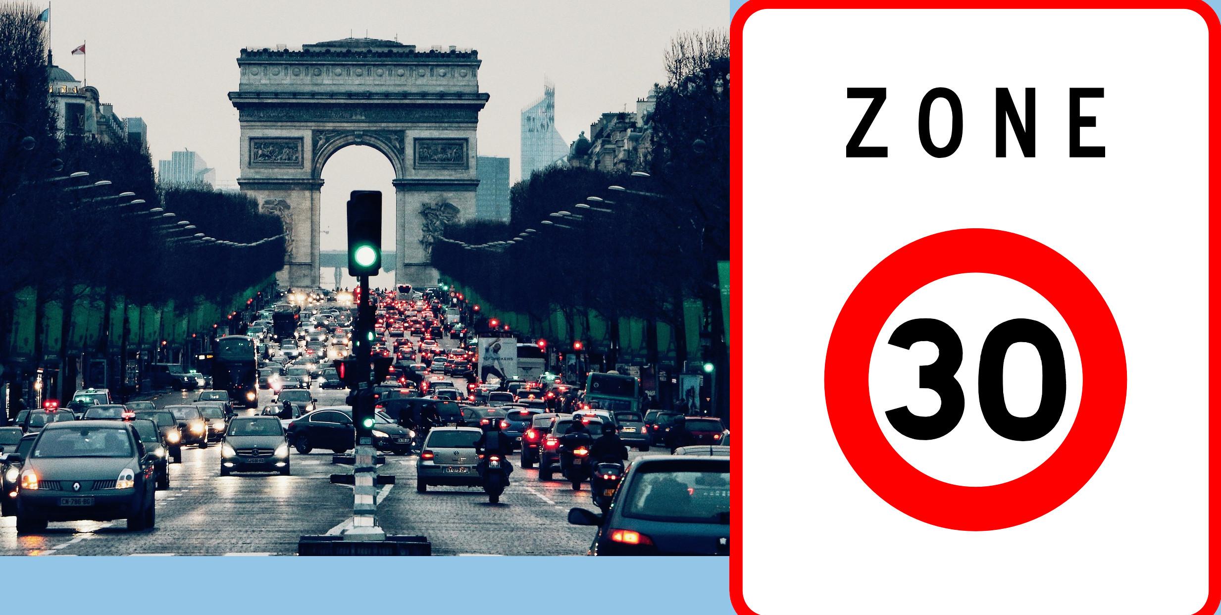 Nuo rugsėjo 1 automobilių greitis Paryžiuje ribojamas iki 30 km/val.