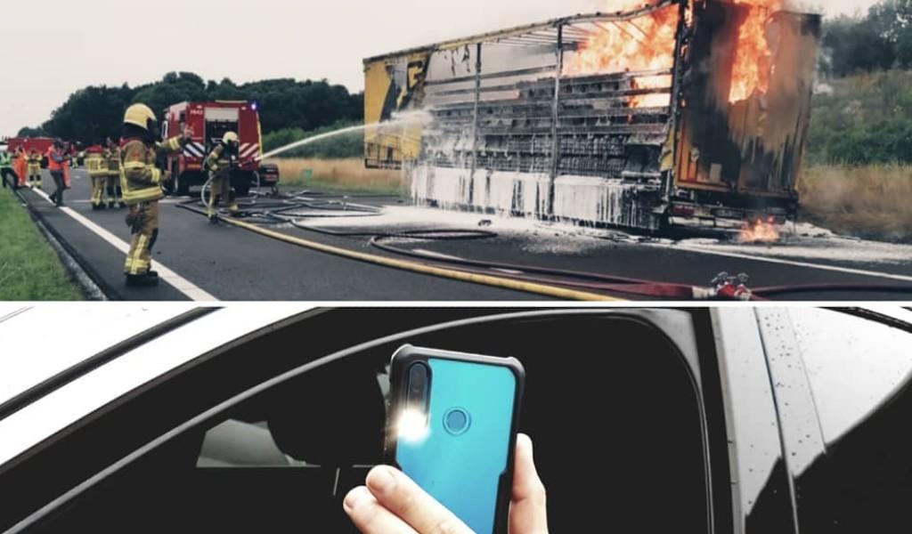 """38 tūkst. Eur už degančio sunkvežimio filmavimą. Policija negaili """"protingų"""" vairuotojų"""